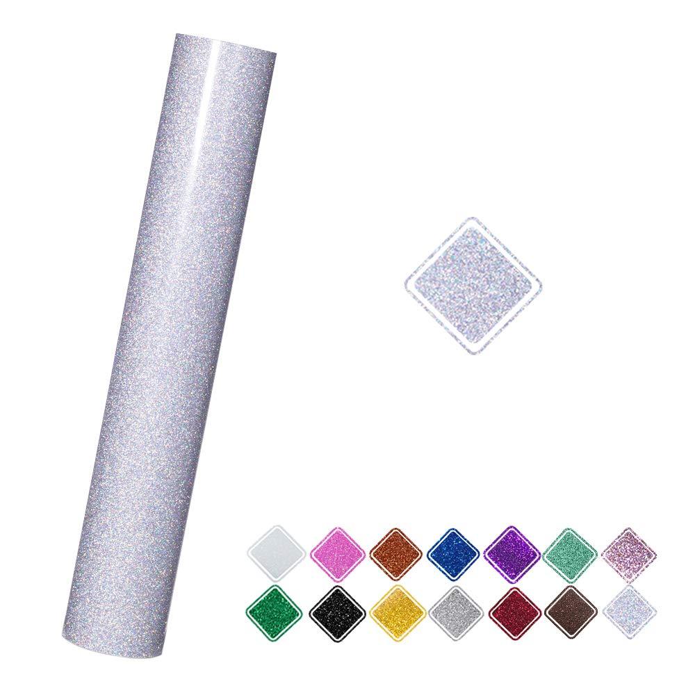 Silver Confetti VINYL FROG 9.8x60 (0.8x5ft) PU bluee Glitter Heat Transfer Vinyl for TShirt Clothing