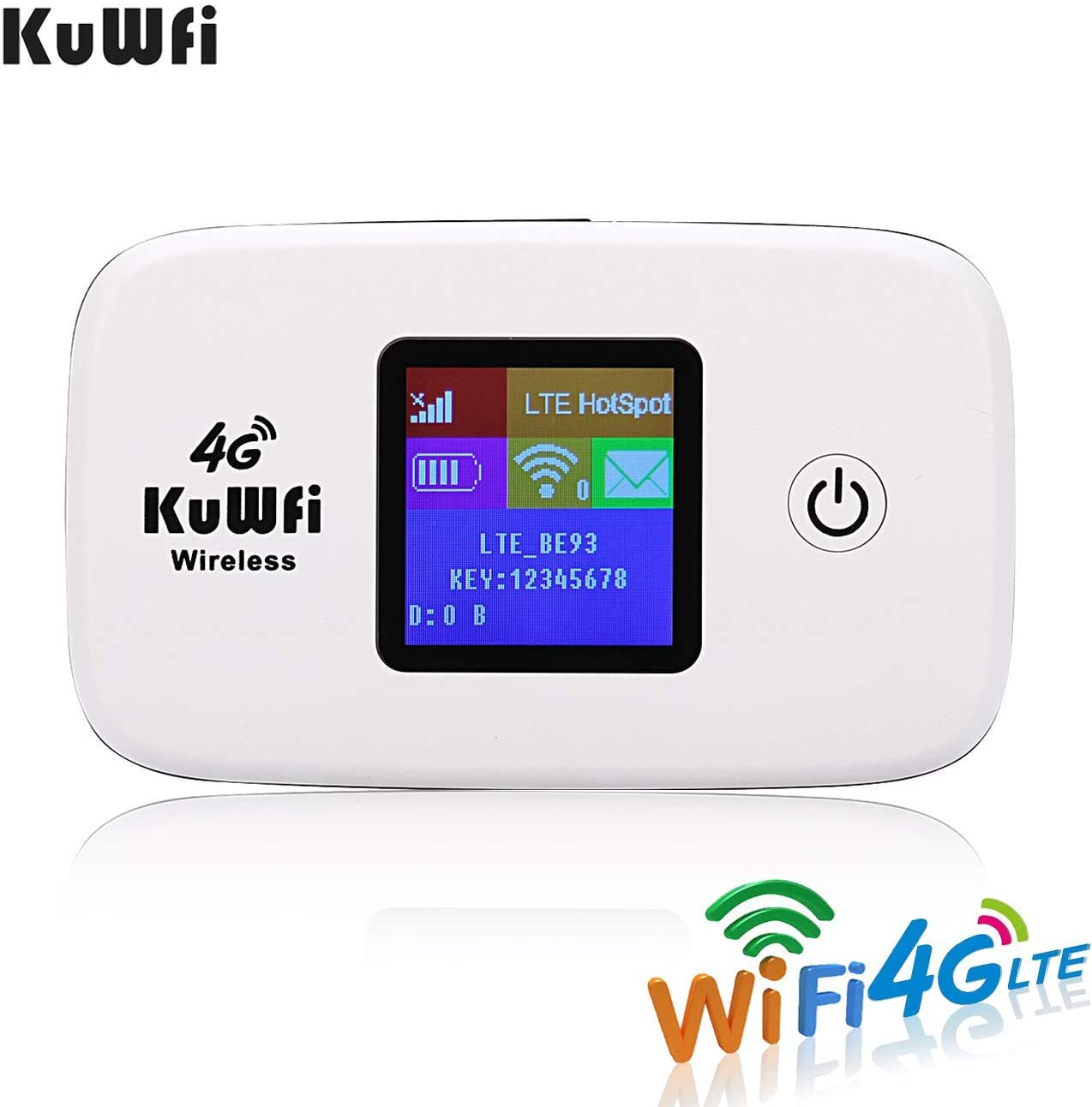 KuWFi 4G LTE Mobile WiFi Hotspot Unlocked Wireless Internet Router Devices with SIM Card Slot for Travel Support B1/B3/B5/B7/B8/B20 in Europe ...