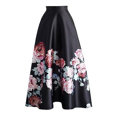 Été Jupe pour Femme Fille Mode Taille Haute Jupe Longue Élégant Motif à Floral Basique Plissée Swing Jupe avec Fermeture Eclair