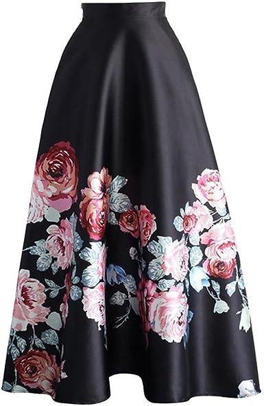 Mujer Falda Larga Elegante Patrón de Floral Slim Fit Plisada Falda ...