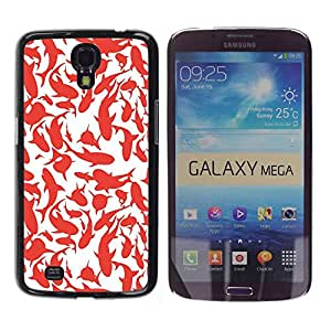 Paccase / SLIM PC / Aliminium Casa Carcasa Funda Case Cover para - Whales Sharks Red White Art Painting - Samsung Galaxy Mega 6.3 I9200 SGH-i527
