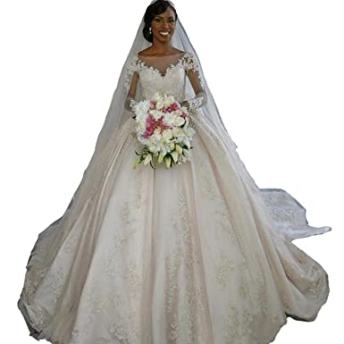 Fair Lady Long Sleeves Princess Wedding Dress Elegant Ball Gown Satin Lace Bridal Dresses