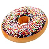 ChezMax Round Doughnut Donut Back Stuffed Cushion Insert Filler Filling Throw Pillow Plush Play Toy Doll For Office Chair Car Seat Women Yoga Dance Men Rainbow Icing Sugar 16 X 16''