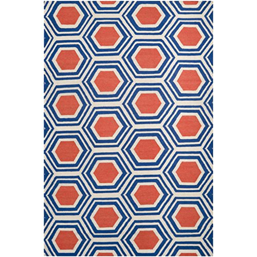 (CC Home Furnishings 8' x 11' Retro Octagon Poppy Red and Blue Wool Area Throw Rug)