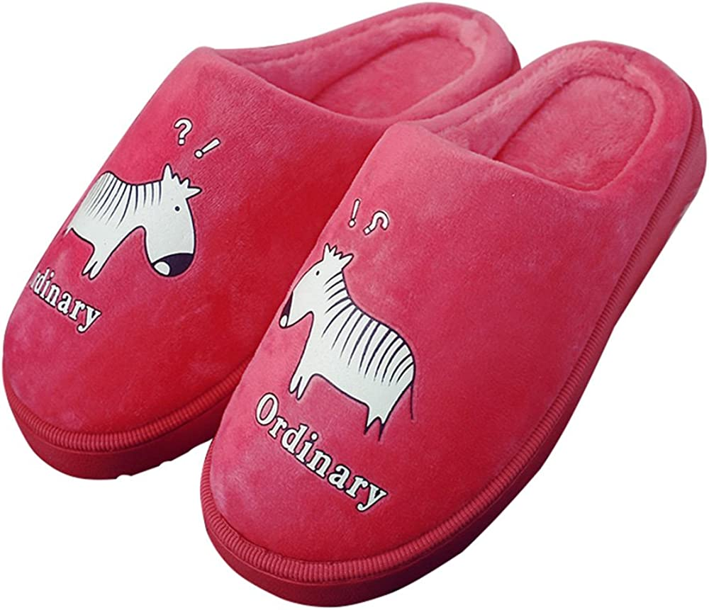 CNDragon Cute Cartoon Zebra Indoor Soft Bottom Slippers Warm Slippers Couples Household Heelless Mules
