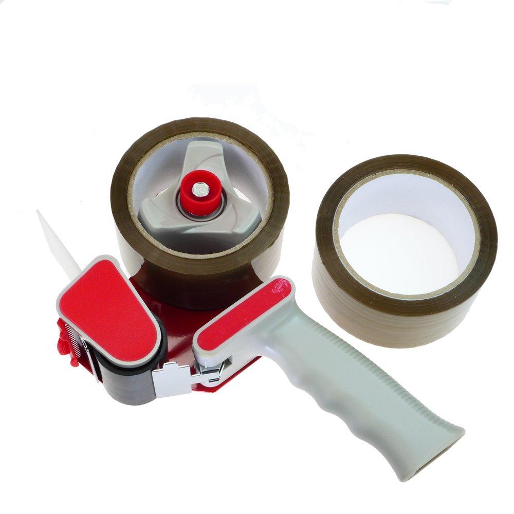 Rotix Tape Dispenser + 2 rolls packing tape of 66m x 50 mm, professional quality dispenser