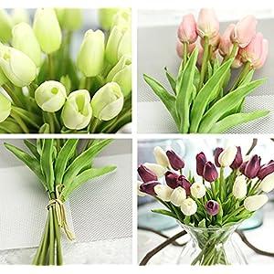Freedi 10Pcs Artificial Tulips Silk Flowers Wedding Bridal Bouquet Party Home Outdoor Decor Bulk 4