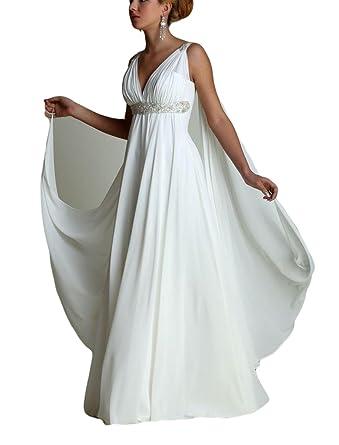 VikDressy Women\'s Greek Style Beaded Wedding Dresses With Watteau ...