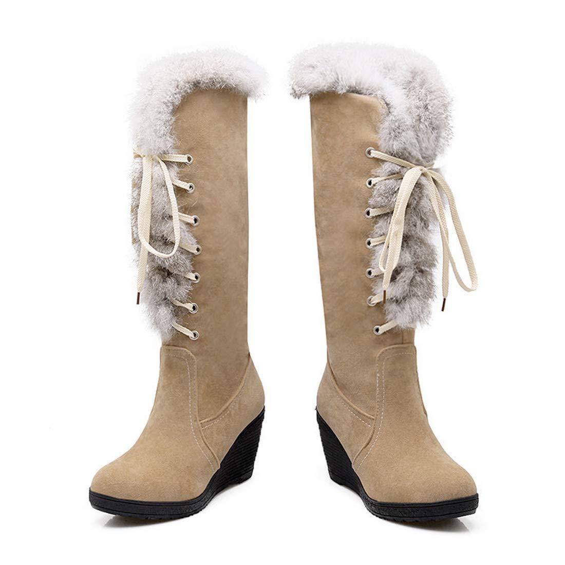 DANDANJIE Damen Kniehohe Stiefel Keilabsatz Lace-up Fashion Stiefel Schuhe für 2018 Herbst Winter