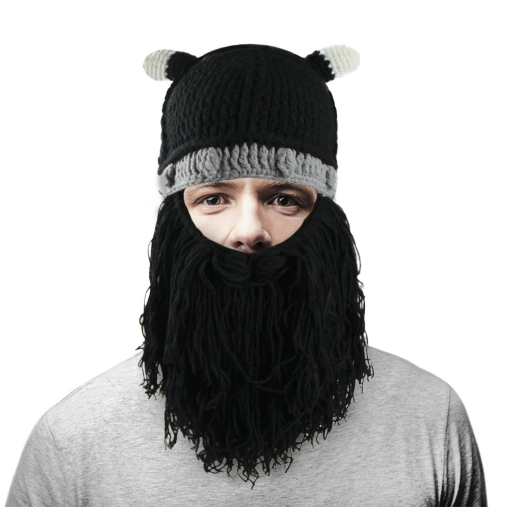 8bfaae4b Women Men Halloween Viking Costume Knit Beard Hat Horns Beanie Mustache  Helmet