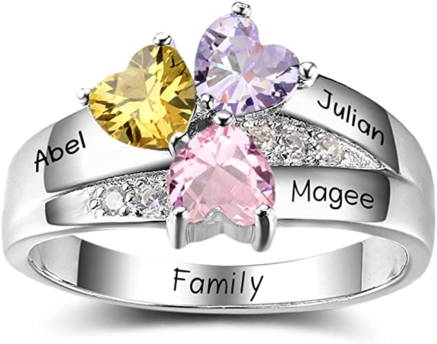 Personalized Rings for Women Silver Stacking Name Rings Hand stamped Jewelry Mothers Day Gift for New Mom Mommy Grandma Friend Sister