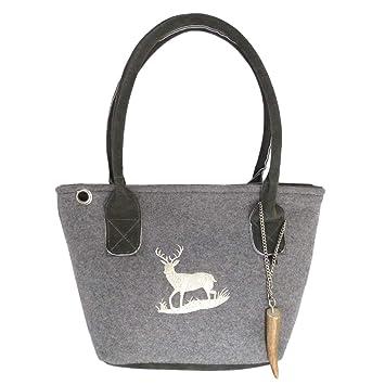 2b2c5678f5a2e Graue Trachten-Handtasche Dirndltasche aus Filz mit Wild-Leder und Beiger  Stickerei Hirsch