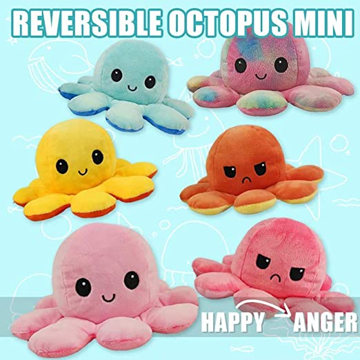 Double face réversible Octopus Toys vie marine Animaux en peluche Poupée