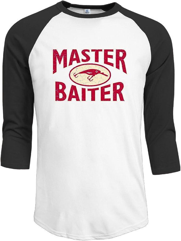 Men's Master Baiter Hook Lure Fishing Raglan Baseball Tshirt 3/4 Sleeve