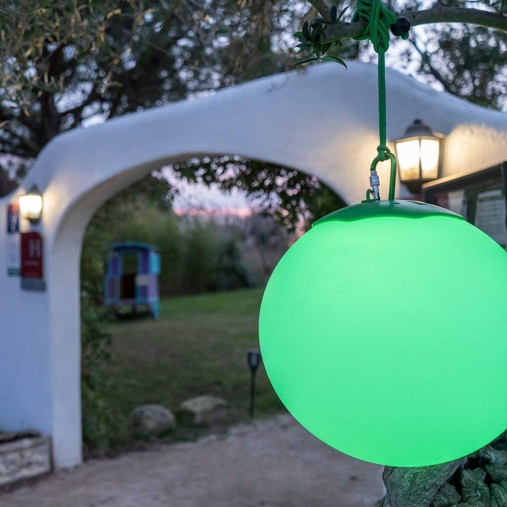 Esfera Bola de luz LED Globe RGB Premium - Impermeable IP65 - Panel solar de alta eficiencia - Mando a distancia - Lámpara de jardín - Batería 10H - Fijación en árboles - Difusión 360 ° - 30 cm: Amazon.es: Iluminación