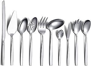 Silverware Serving Set 10 Pieces, Berglander Stainless Steel Flatware Serving Set, Silver Serving Utensil, Anti Rust (10 Pieces)