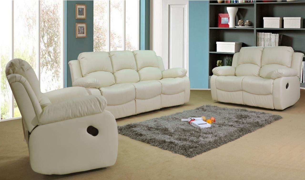 Valencia Cream Recliner Leather Sofa Suite 3 2 Seater Brand New 12  ~ Cream Leather Reclining Sofa