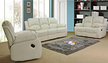 VALENCIA Cream Recliner Leather Sofa Suite 3+2 Seater 12 Months Warranty  ENGLAND WALES ONLY