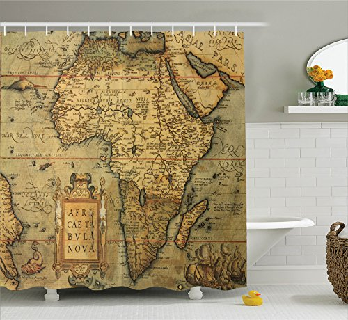 Ambesonne Wanderlust Decor Collection, 16th Century Map of Africa Engraved and Colored by Cartographer Abraham Ortelius Image, Polyester Fabric Bathroom Shower Curtain, 75 Inches Long, Olive 16th Century Rug