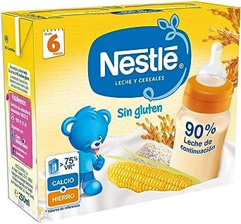 Nestlé Leche y Cereales Sin gluten - Alimento Para bebés - Paquete de 6x2 unidades de 250ml