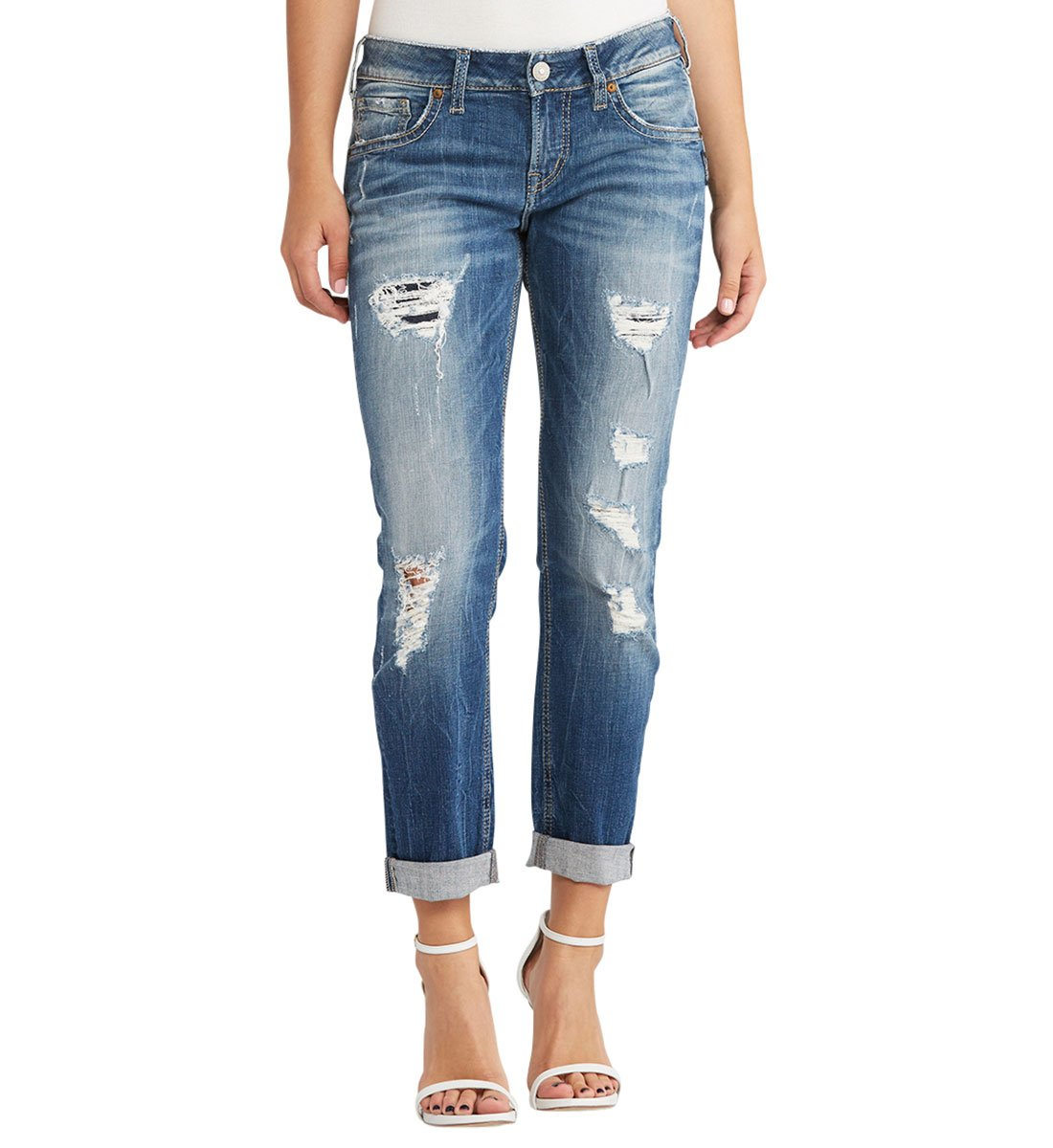 Silver Jeans Co. Women's Sam Mid Rise Boyfriend Jeans, Destroyed and Patched, 29x26