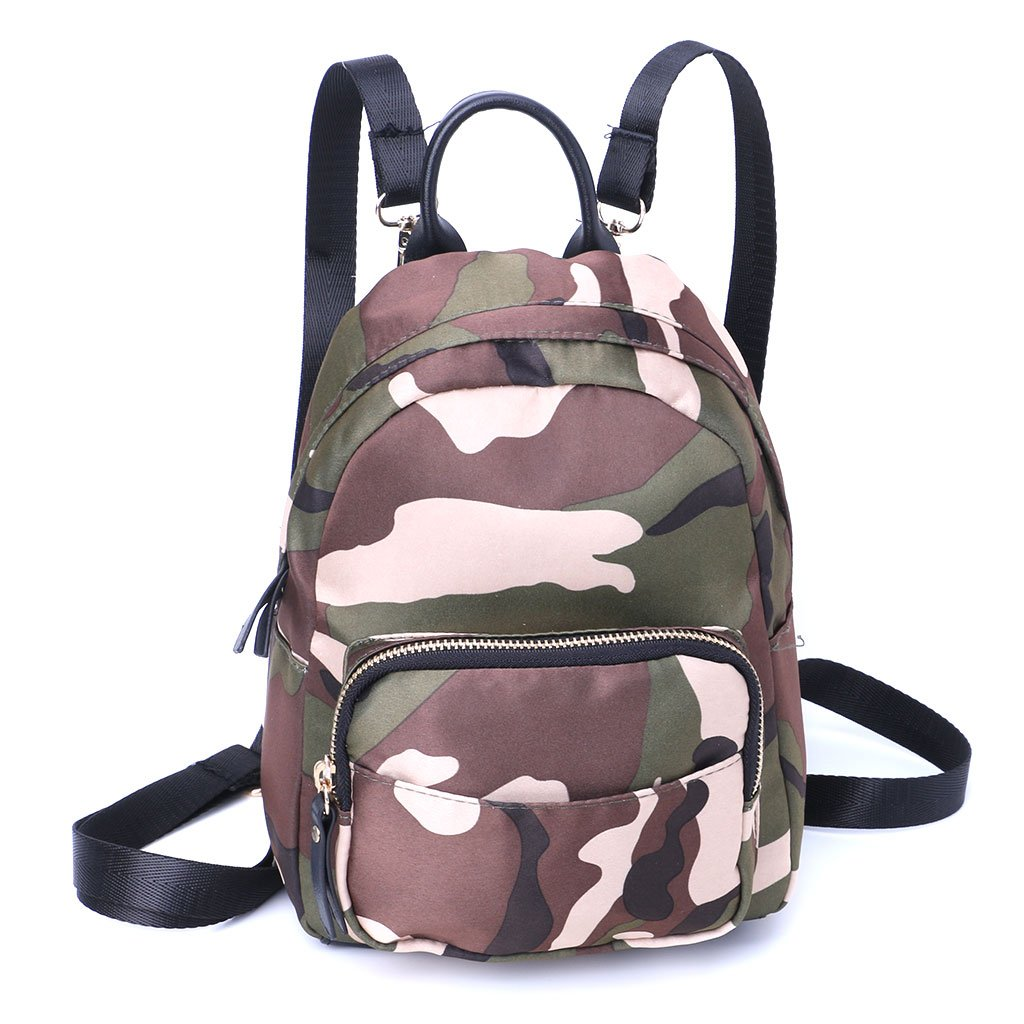 JAGENIE Women Mini Backpack Nylon Shoulder School Travel Small Bag Casual Rucksack Tote Camouflage