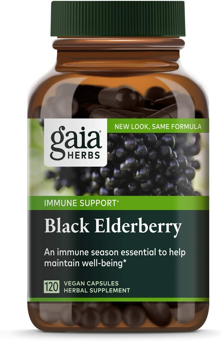 Gaia Herbs, Black Elderberry, Organic Sambucus Elderberry Extract for Daily Immune and Antioxidant Support, Vegan Powder Capsules, 120 Count Pack of 1