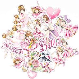 June Trendy DIY Decor Lovely Ballet Girl Art Stickers for Kids (27 Pieces) / Kawaii Waterproof Decals for Water Bottles, Phone Cases, Laptops/Cute Decals for Bullet Journals, Scrapbook, Planners