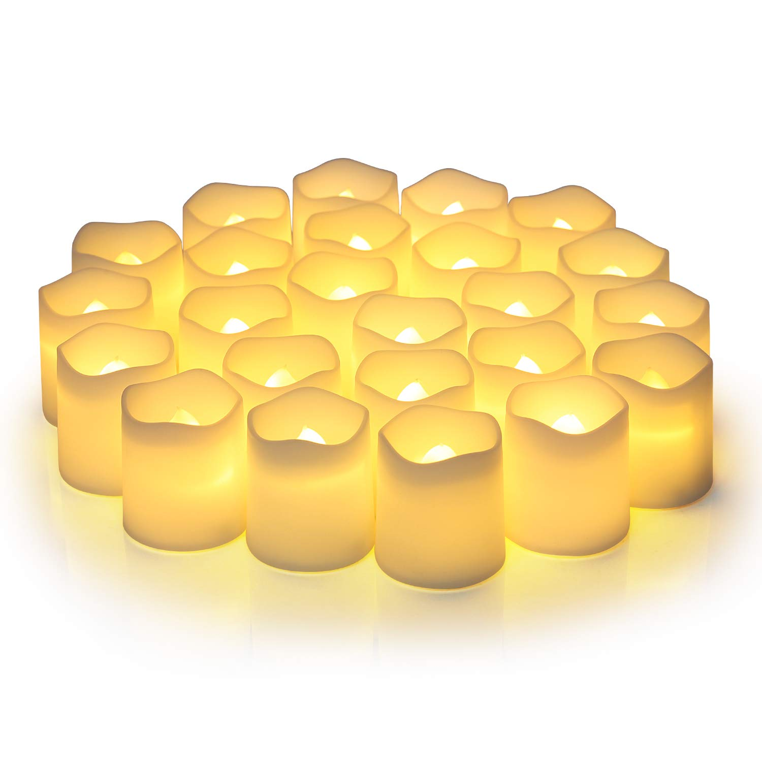 Flameless Votive Candles,Votive Flameless Candles,Flameless Votive Vandles Flickering,2 Inch Candles Votive Led Candles in Warm White and Wave Open(Pack of 24)