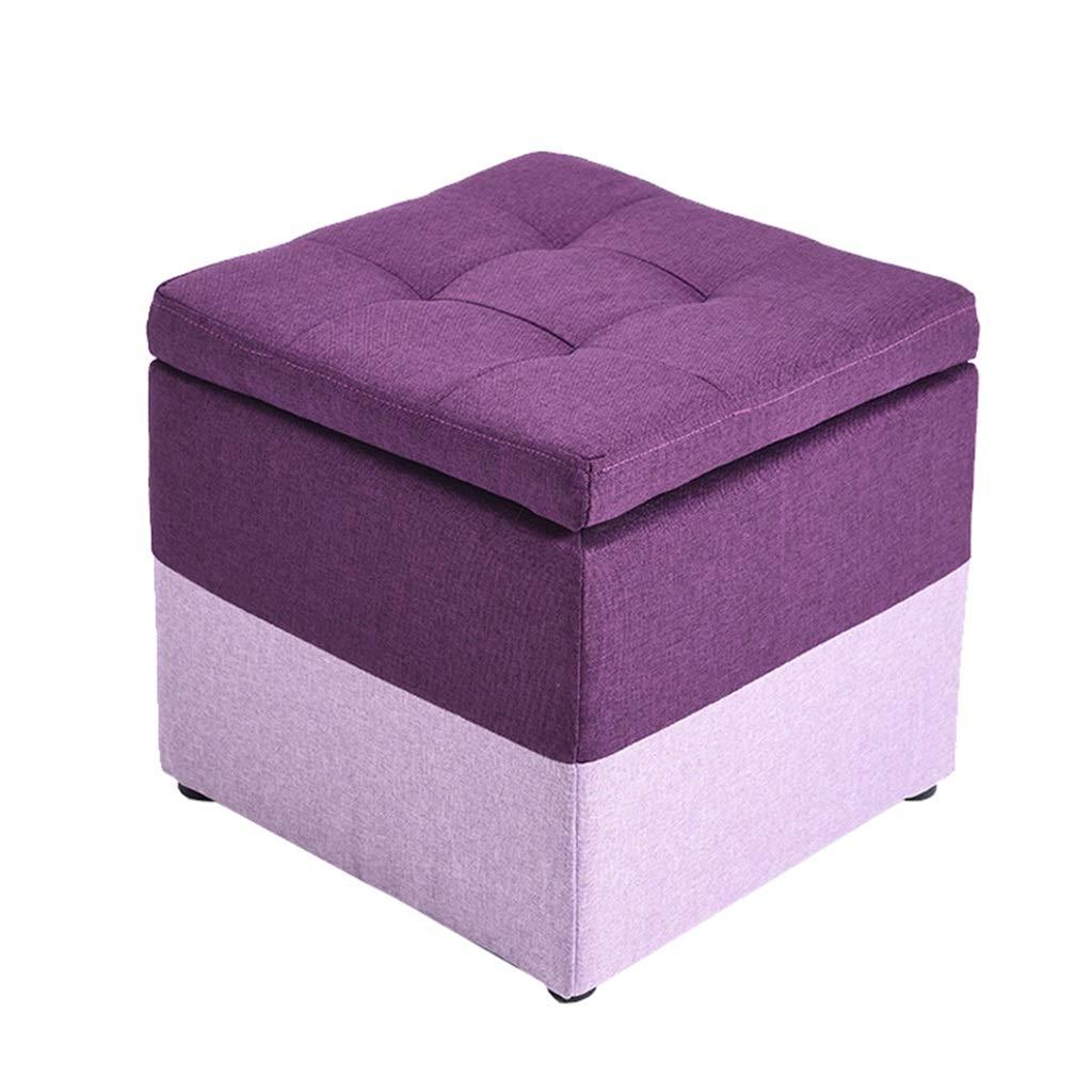 Promoción por tiempo limitado Reposapiés Sofá Taburete de almacenaje de costura púrpura Taburete de taburete práctico de madera Reposapiés tapizado para sala de estar Dormitorio de esponja altamente elástica que l