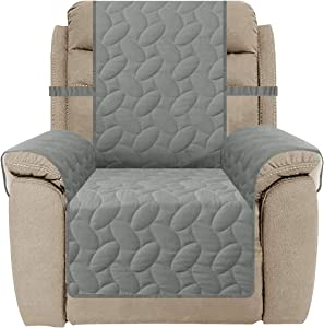 SUNNYTEX Waterproof Recliner Cover, Recliner Chair Slipcover Non-Slip Recliner Sofa Couch Cover Furniture Protector for Pets Children&Dog(Recliner,Grey)