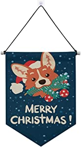 ALAZA Indoor Decorations, Merry Christmas Happy New Year Cute Corgi Dog Santa Claus Hanging Door Banner Holiday Decor for Home Party School Office