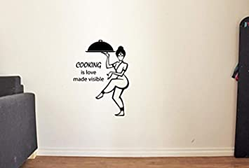 Amazoncom Funny Vinyl Wall Decals For Kitchen Quotes Cooking Is