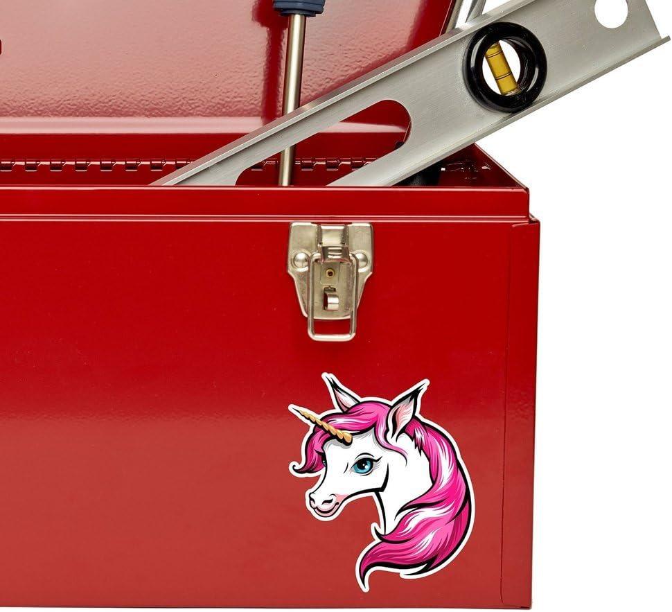 2 x Pretty Pink Unicorn Vinyl Sticker Laptop Travel Luggage Car #6013