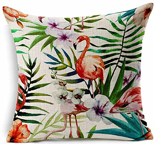 Cotton Linen Square Decorative Throw Pillow Case Cushion Cover Hand-painted Tropical Flowers and Birds Foliage Plant Christmas Gift 18