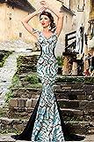 EZON-CH Womens Silver Sequin Embellishment Elegant Mermaid Evening Gown