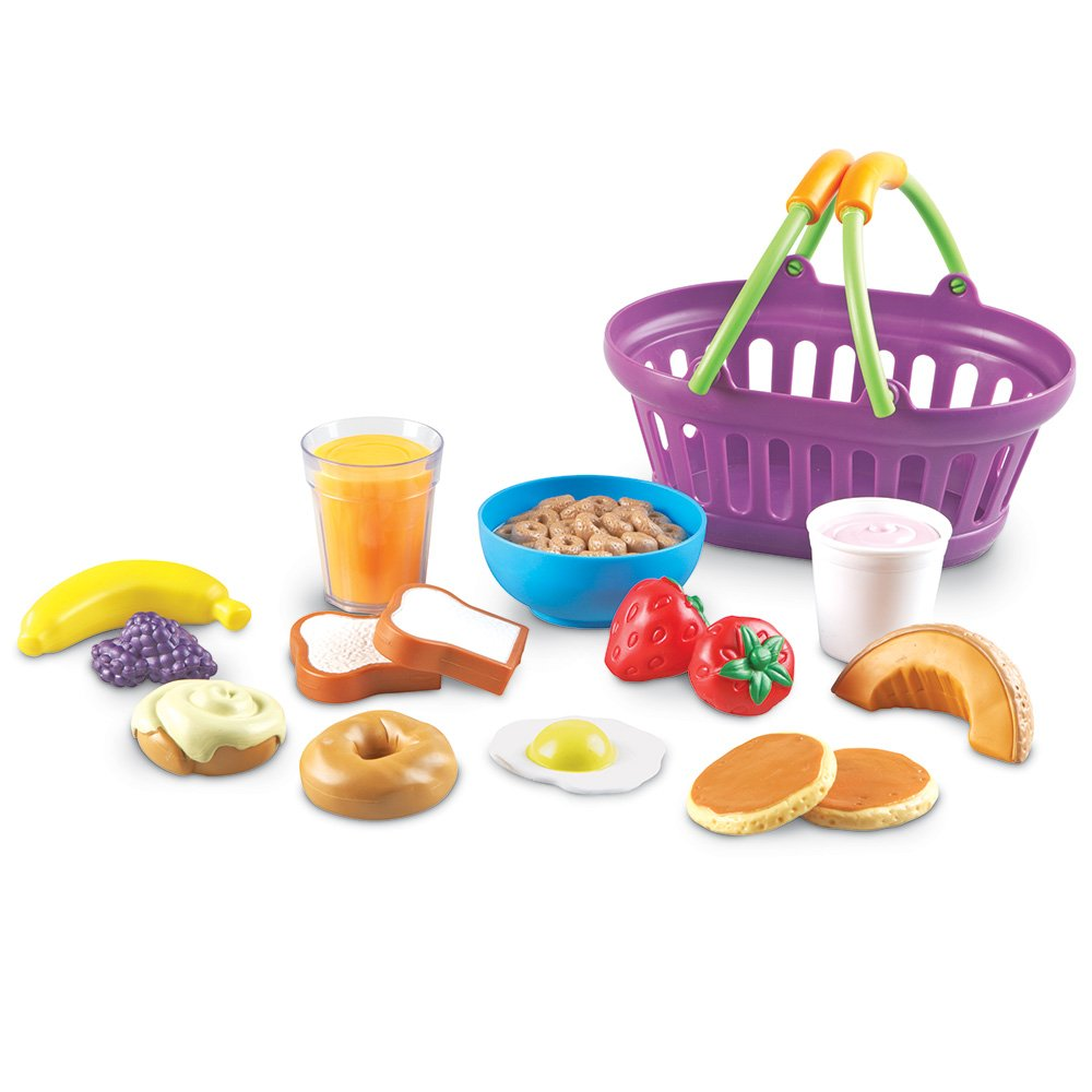 Learning Resources New Sprouts Breakfast Foods Basket, Pretend Play, 16 Piece, Ages 18 Mos+ by Learning Resources
