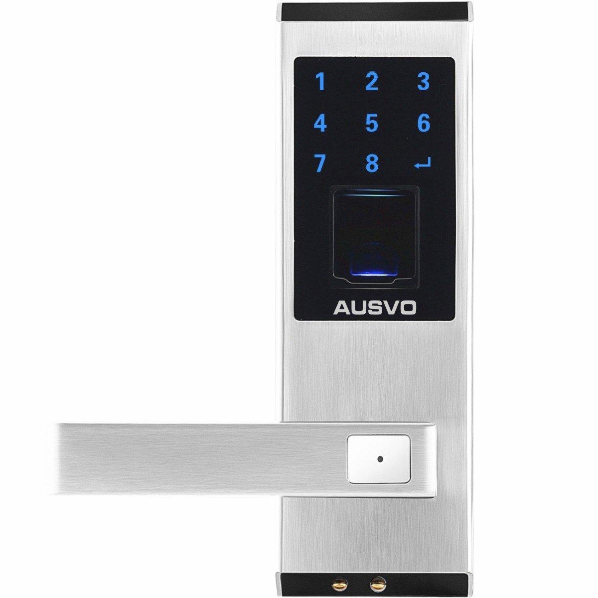 AUSVO M400-L Fingerprint Door Lock Biometric Smart Keyless Digital Touchscreen Keypad Lever Lockset with Knob Handle Stainless Steel Left-Handed