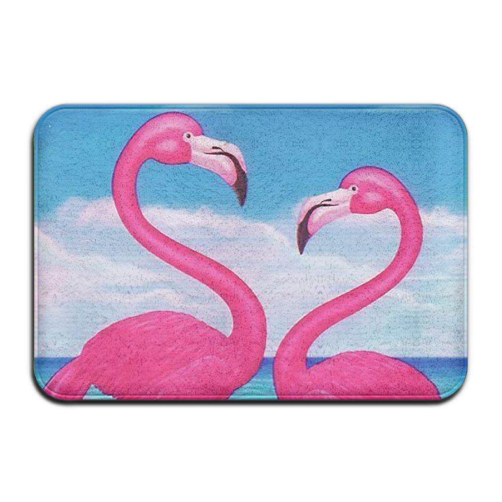 BINGO BAG Art Pink Flamingos Indoor Outdoor Entrance Printed Rug Floor Mats Shoe Scraper Doormat For Bathroom, Kitchen, Balcony, Etc 16 X 24 Inch by BINGO BAG