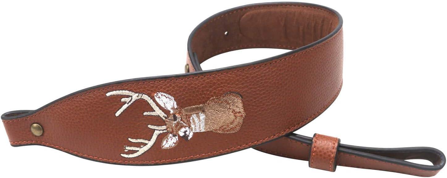 Tourbon Correa de Piel para Rifle con Bordado de Cabeza de Ciervo, Estilo Vintage, Color marrón