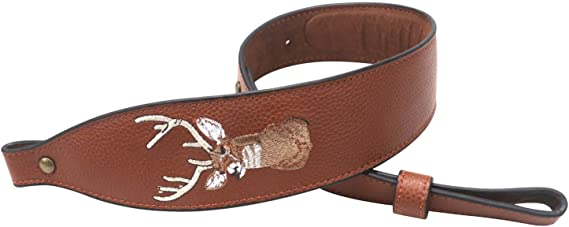 TOURBON Vintage Leather Deer Head Embroidery Padded Rifle Gun Sling Strap - Brown