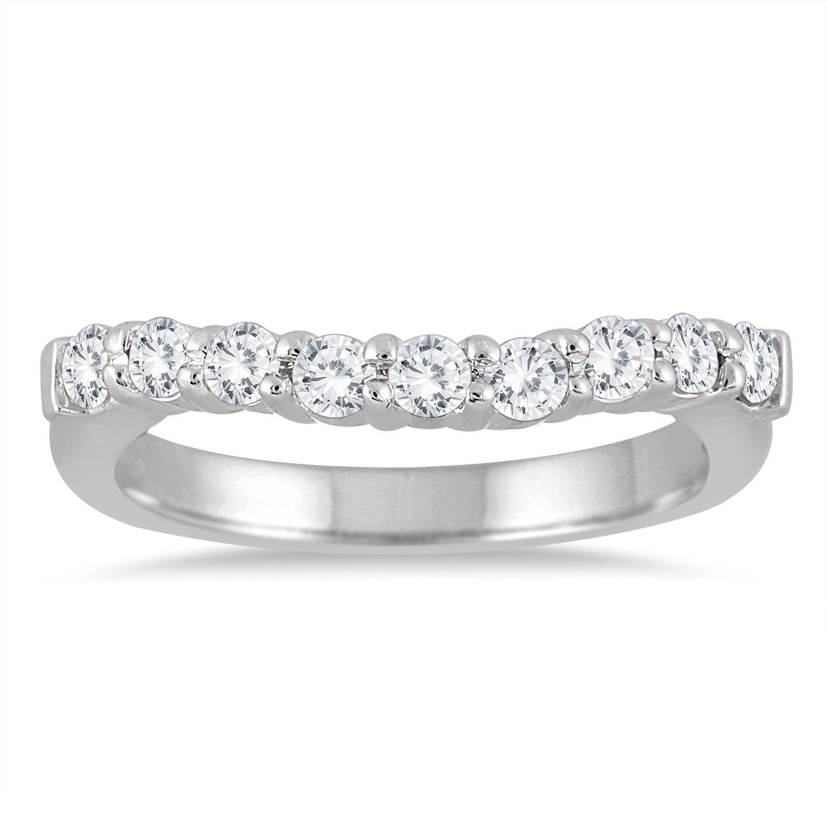 AGS Certified 1/2 Carat TW Diamond Curve Wedding Band in 10K White Gold