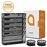 Wall Mounted File Holder - Black Mesh - 5 Tray Compartments - Includes 2 Free Matching Paperclip Pots - Hanging Cubicle Mail Organizer - Letter, Literature, Document and Magazine Sorter by Amarcado