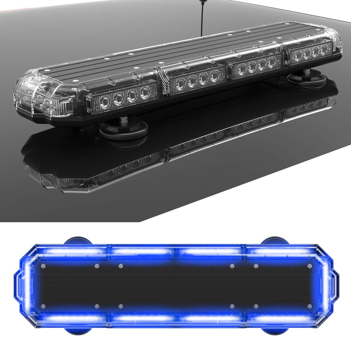 and Emergency Vehicles with Magnetic Roof Mount in Red//Blue SpeedTech Lights Mini 21 120 Watts LED Strobe Lights for Trucks Cars Plows