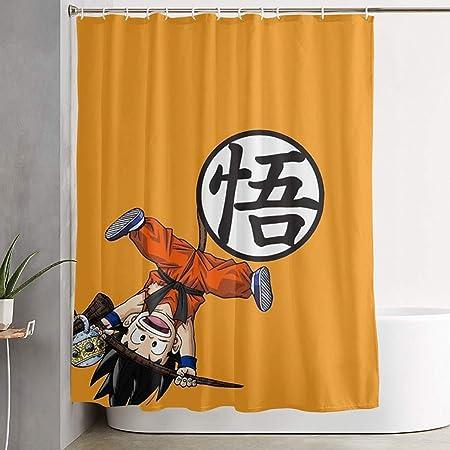 Tenda da Doccia in Tessuto di Poliestere Impermeabile Kame Hame Goku Sagoma Rossa Dragon Ball Z Tenda da Bagno Decorativa con Stampa con Ganci 72x 72