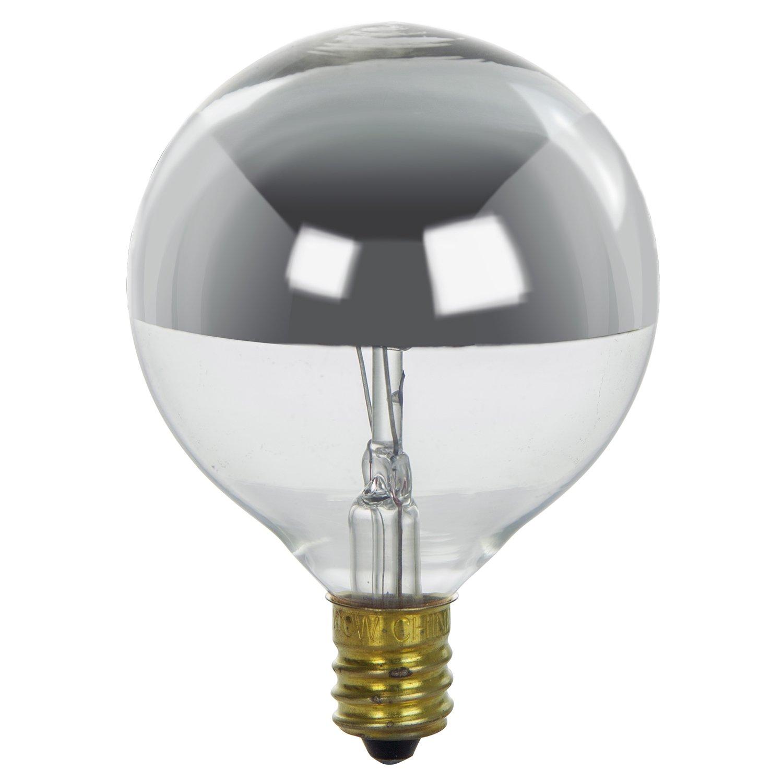 G16.5 Globe Silverbowl Bulb Sunlite 25G16.5//SB Incandescent 25-Watt Silverbowl Sunshine Lighting Candelabra Based