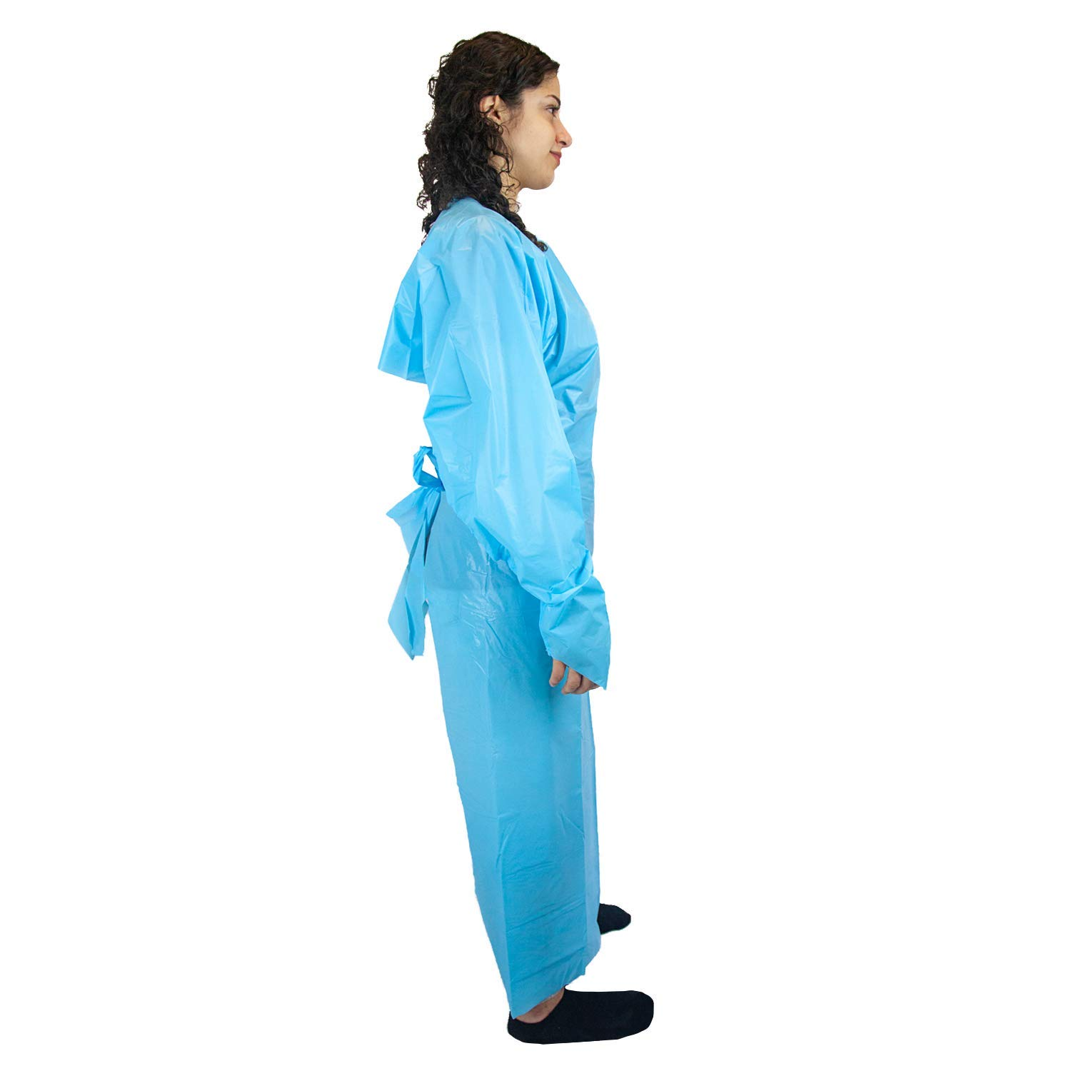 SAFE HANDLER Disposable Sleeve Gown | Open Back with Thumb Loops, 0.5 MIL, Blue, 100 Count by Safe Handler (Image #6)