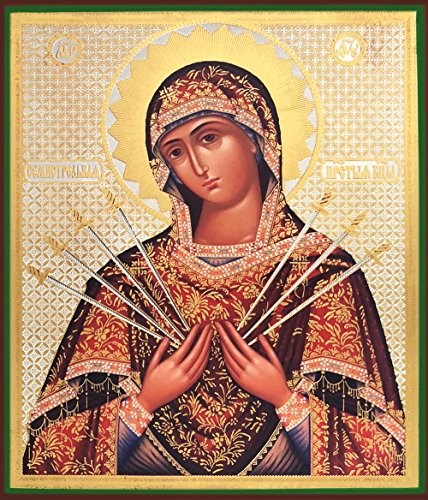 Virgin Mary Icon - Religious Gifts Madonna Russian Icon Wood Virgin Mary of Seven Swords Our Lady of Sorrows 8 1/4 Inch