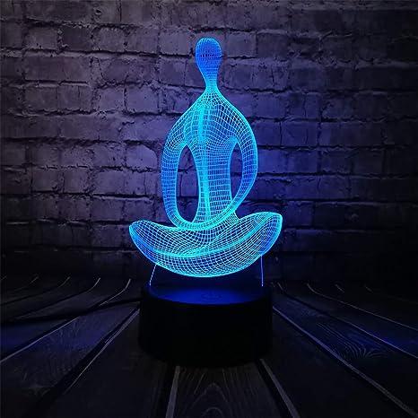 Wallfia 3D Light Yoga Meditación USB Night Light Multicolor ...