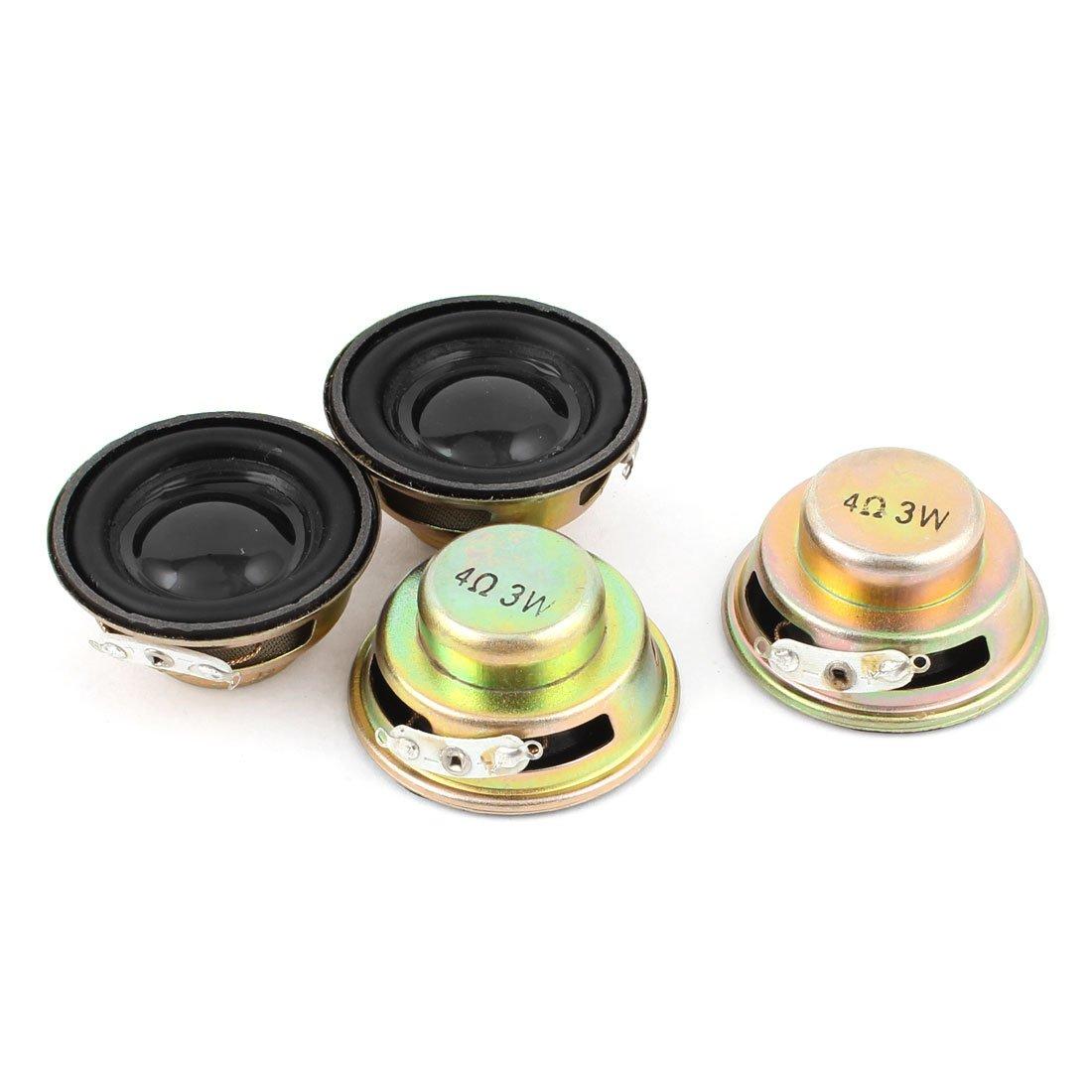 uxcell 4 Pcs Multimedia 3W 4 Ohm 40mm Dia Aluminum Internal Magnet Speaker